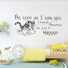 winnie the pooh and tigger nursery wall stickers as soon as i saw you adventure going to happen baby boys girls bedroom wall decor decals
