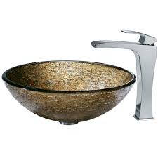 vigo textured copper glass vessel sink and faucet set in chrome