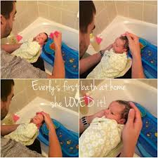 everly s first bath at home