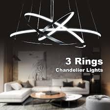 stylish led 3 rings chandelier lighting lights fixture pendant ceiling lamp