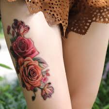 3d розовыми цветами руку на плечо бедра татуировки водонепроницаемый