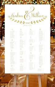 Wedding Guest List Seating Chart Wedding Seating Chart Poster For Reception In Andrea Gold