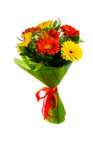 red and yellow flower bouquet isolated on white greeting background flowers greeting card