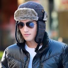 Us 3119 Siggi Mannen Bomber Winter Hoed Russische Faux Fur Trapper Wol Plaid Oorklep Oekraïne Peruaanse 68162 In Siggi Mannen Bomber Winter Hoed