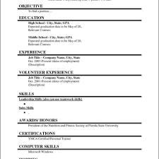 Free Fill In Resumes Printable Resume Template Blank Resumes Templates Free For High School 40