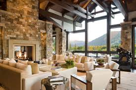 Rustic Modern Living Room House Design With Stone Wall White Sofa ...