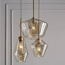 west lighting sculptural glass geo 3 light chandelier mixed west