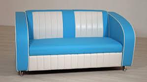 Sofabank Elvis Polstersofa In Blau Weiß American Diner 50er