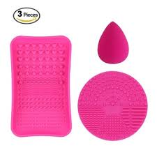 1 mini makeup brush cleaner mat 1 cosmetic brushes cleaning plate portable washing tool and