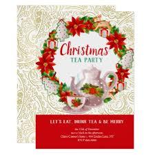 Christmas Tea Party Invitations Holiday Christmas Victorian Tea Party Invitation