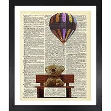 handmade kitchen wall art teddy bear picture dictionary print vintage 8x10 upcycled abstract prints wall art for home decor wall decorations for living room  on vintage teddy bear wall art with handmade kitchen wall art teddy bear picture dictionary print