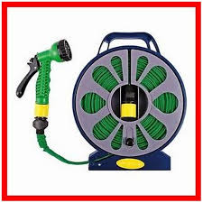 50 ft flat garden hose pipe reel with spray