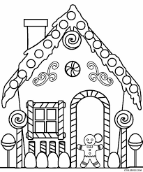 Printable Gingerbread House Coloring Pages For Kids Coloring Pages