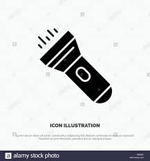 Glyph Of Flash Of Light Flashlight Light Torch Flash Solid Black Glyph Icon Stock