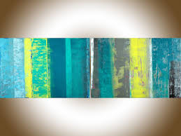 spring ribbon by qiqigallery 72 x 24 extra large wall art abstract painting original artwork painting on canvas home decor turquoise blue green yellow