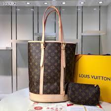 bucket bag classic flower large handbag color change leather wearable linen size 27 36 20 cm m42236