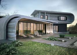Unique Wood Curved Roof on a Wood Log Modern Home