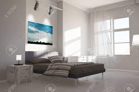 Modernes Schlafzimmer Mit Leinwand Von Berlin Skyline über Dem Bett
