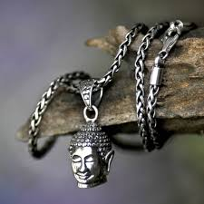 men s handmade sterling silver pendant necklace smiling buddha