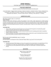 Resume Template Resume Examples For Teacher Assistant Free Career