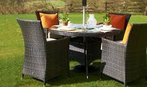 margarita 4 seat round garden dining set brown rattan