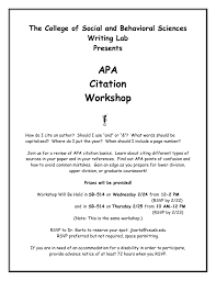 Apa Citation Workshop Flier Word