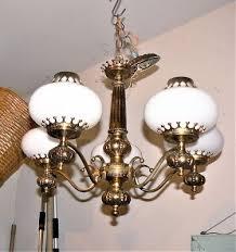 antique vintage 5 light brass chandelier w milk glass globes w brass caps