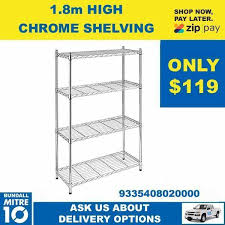 shelving unit 4 tier chrome wire 1800mm high