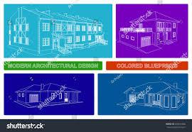 modern architecture blueprints. Contemporary Modern Colorful Architectural Blueprints Modern Vector Design 3D House And Architecture Blueprints