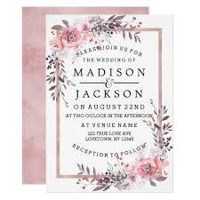 Blush Rose Gold Framed Wedding Invitations