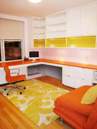 home office room design. White Contemporary Home Office With Orange Furniture Room Design P