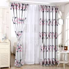 Casual Pink Geometric Pattern Grey Polyester Insulated Blackout Bedroom  Curtains