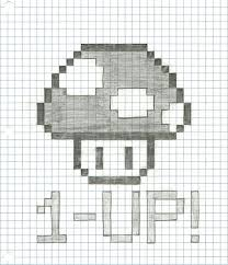 Graph Paper Draw Drawing Pictures On Graph Paper Graph Paper Drawing Mario Mushroom