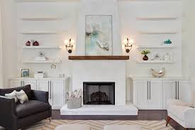 Chunky White Floating Shelves Fireplace with Floating Shelves Transitional Living Room 5