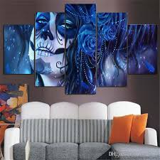 pls note it is unframed unstretched just paint on canvas if you need frame pls contact us  on house wall art painting with high quality the day of the dead canvas painting hanging wall print