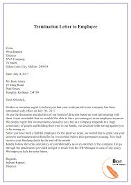 Termination Dismissal Letter Template Format Sample Example