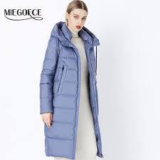 miegofce 2018 winter new collection bio fluff hooded womens winter coat parkas european style warm stylish