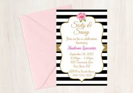 Black And White Striped Invitation 60 And Sassy Invitation