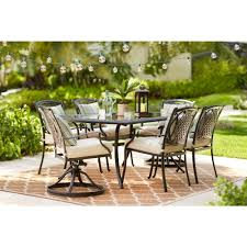 hton bay belcourt 7 piece metal outdoor dining set with cushionguard oatmeal cushions