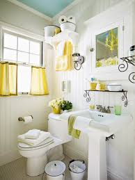 E Fresh Blue U0026 Yellow Cottage Bathroom Design With Turquoise Painted  Ceiling Beadboard White Pedestal Sink Penny Tiles Floor Buckets Medicine