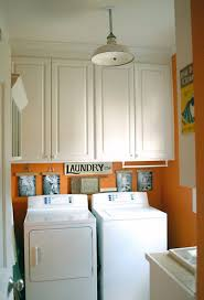 Best Orange And Colored Laundry Room Design 2013