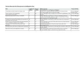 Kitchen Remodel Project Plan Template Risk Response Matrix Template