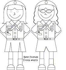 Girl Scout Coloring Pages Best Friend Coloringstar