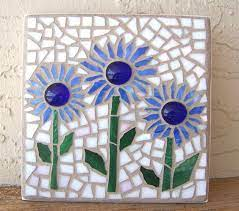 blue mosaic flowers glass mosaic art