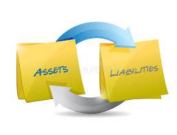 assets and liabilities assets and liabilities cycle diagram stock illustration