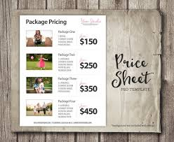 Price List Template Best Price List Template Photography Pricing List Sell Sheet Etsy