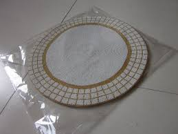 round gold and white handmade beaded placemat set glass beads table mat beaded table runner beaded table charger beaded placemat round glass beads placemat