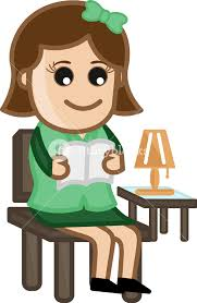 woman reading a book cartoon office vector ilration