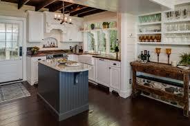 Kitchen Gray And White Solid Stone Island Cabinet Dark Flooring