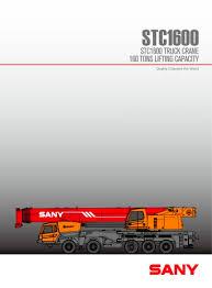 Sany Stc1600 160t Mobile Crane Sany Pdf Catalogs